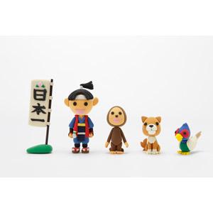 フリー写真, 人形, 童話(おとぎ話), 桃太郎(ももたろう), 犬(イヌ), 猿(サル), 雉子(キジ), 岡山県, のぼり