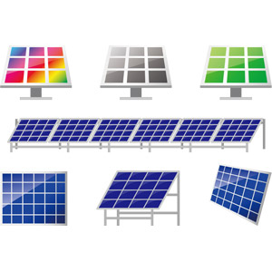 フリーイラスト, ベクター画像, AI, 機械, ソーラーパネル, 太陽光発電, 再生可能エネルギー, 発電, エコロジー