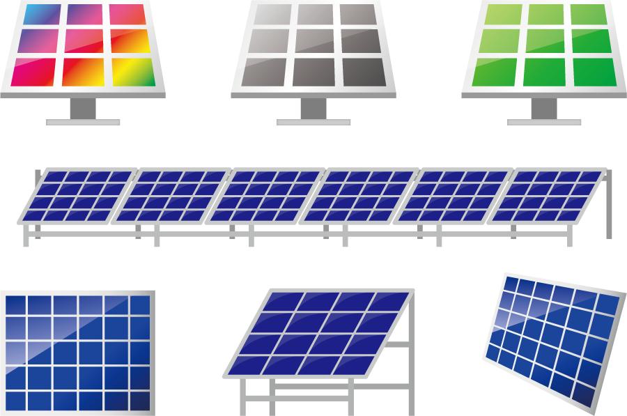 フリーイラスト 7種類の太陽光パネルのセット