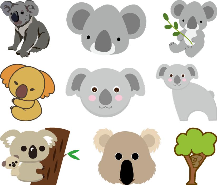 フリーイラスト 9種類のコアラのセット