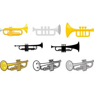 フリーイラスト, ベクター画像, AI, 音楽, 楽器, 金管楽器, トランペット