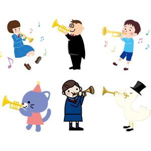 フリーイラスト, ベクター画像, AI, 音楽, 楽器, 金管楽器, トランペット, 人物, 少女, 男性, 演奏家, 男の子, 猫(ネコ), アヒル, 演奏する, 学生(生徒), 学生服