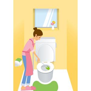 フリーイラスト, ベクター画像, AI, 人物, 女性, 主婦, トイレブラシ, 掃除(清掃), トイレ(便所), 便器, エプロン