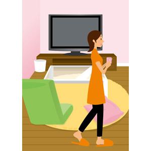 フリーイラスト, ベクター画像, AI, 人物, 女性, 部屋, リビングルーム, 液晶テレビ, テレビ(TV), 座椅子, クッション, マグカップ, スリッパ