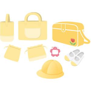 フリーイラスト, ベクター画像, AI, 幼稚園, 通園バッグ, 通学帽(通園帽), 上履き, 名札, 手提げ袋, 鞄(カバン), 巾着袋, お弁当袋