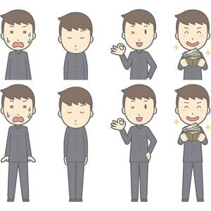フリーイラスト, ベクター画像, AI, 人物, 少年, 少年(00130), 学生服, 学生(生徒), 高校生, 中学生, 学ラン, 焦る, 冷や汗をかく, お辞儀, 頭を下げる, 謝罪, 謝る(ゴメン), OKサイン, お金持ち, お金