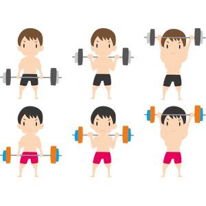 フリーイラスト, ベクター画像, AI, 人物, 男性, バーベル, 重量挙げ(ウエイトリフティング), 運動, フィジカルトレーニング, 筋肉