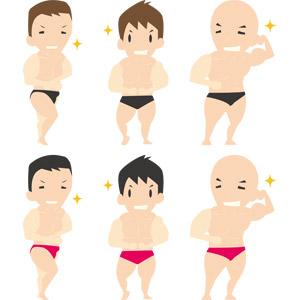フリーイラスト, ベクター画像, AI, 人物, 男性, 筋肉, ボディビルディング, ボディビルダー, スポーツ