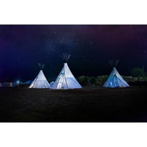 フリー写真, 風景, 夜, 夜空, 星(スター), ティーピー(ティピー), キャンプ, アメリカの風景