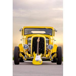フリー写真, 乗り物, 自動車, クラシックカー, フォード, フォード・モデルB, クーペ, 映画, 音楽, 楽器, 弦楽器, ギター, エレキギター, 黄色(イエロー)