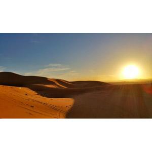 フリー写真, 風景, 自然, 夕暮れ(夕方), 夕日, 日の入り, 砂漠, サハラ砂漠, モロッコの風景