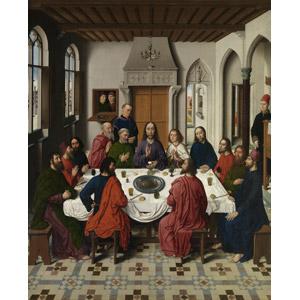 フリー絵画, ディルク・ボウツ, 宗教画, キリスト教, 新約聖書, イエス・キリスト, 十二使徒, 最後の晩餐, 食事, 食卓(テーブル), 部屋