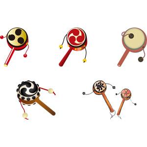 フリーイラスト, ベクター画像, AI, 玩具(おもちゃ), でんでん太鼓, 太鼓