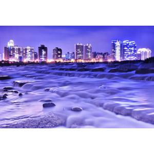 フリー写真, 風景, 建造物, 建築物, 高層ビル, 都市, 河川, 夜景, 夜, 台湾の風景