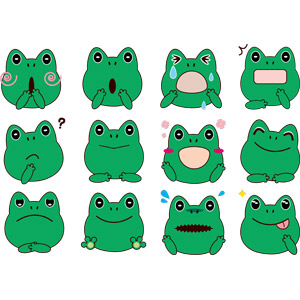フリーイラスト, ベクター画像, AI, 動物, 両生類, 蛙(カエル), 動物の顔, 驚く(動物), 舌を出す(動物), 梅雨, 6月, 喜ぶ(動物)