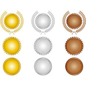 フリーイラスト, ベクター画像, AI, メダル, 金メダル, 勲章, 賞, 金(ゴールド), 一位(優勝), 銀メダル, 銅メダル, 二位, 三位, オリンピック, 月桂冠