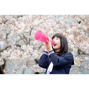 フリー写真, 人物, 少女, アジアの少女, 日本人, 少女(00048), 学生(生徒), 高校生, セーラー服(学生服), 学生服, 人と花, 桜(サクラ), 春, 応援する, メガホン(拡声器), 叫ぶ