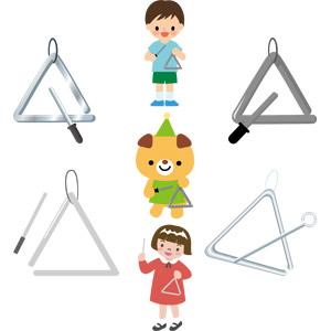 フリーイラスト, ベクター画像, AI, 音楽, 楽器, 打楽器, トライアングル, 演奏する, 人物, 子供, 男の子, 女の子, 熊(クマ)