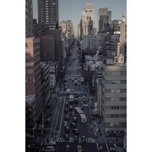 フリー写真, 風景, 建造物, 建築物, 高層ビル, 都市, 街並み(町並み), 道路, 渋滞, 自動車, アメリカの風景, ニューヨーク