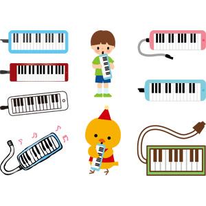 フリーイラスト, ベクター画像, AI, 音楽, 楽器, 鍵盤楽器, 鍵盤ハーモニカ(ピアニカ), 人物, 子供, 男の子, 演奏する, ひよこ(ヒヨコ)