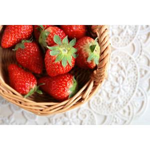 フリー写真, 食べ物(食料), 果物, 苺(イチゴ), レース