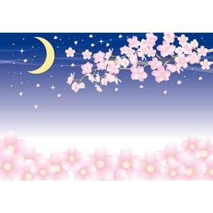 フリーイラスト, ベクター画像, AI, 背景, 花, 桜(サクラ), ピンク色の花, 夜桜, 夜, 三日月, 春, 花見