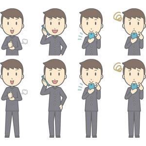 フリーイラスト, ベクター画像, AI, 人物, 少年, 少年(00130), 学生服, 学生(生徒), 高校生, 中学生, 学ラン, 納得する, 閃く, 通話, スマートフォン(スマホ), 携帯電話, 困る