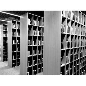 フリー写真, 風景, 図書館, 本棚, 本(書籍), モノクロ