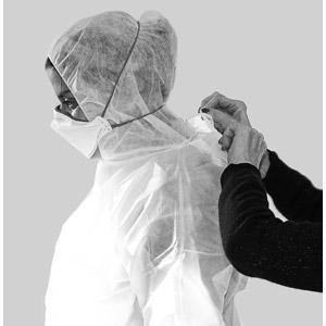 フリー写真, 人物, 女性, 外国人女性, 横顔, 防護服, 放射能(放射線), 医療, ウイルス, 感染症