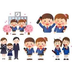 フリーイラスト, ベクター画像, AI, 学校, 卒業式, 卒業証書, 人物, 男の子, 女の子, 学生(生徒), 小学生, 学生服, 2月, 3月, 家族, 父親(お父さん), 母親(お母さん), 娘, 子供