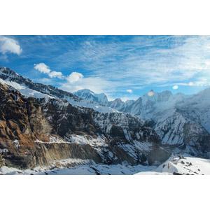 フリー写真, 風景, 自然, 山, 雪, 青空, ヒマラヤ山脈, ネパールの風景