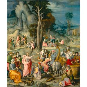 フリー絵画, バッキアッカ, 宗教画, 旧約聖書, モーゼ(モーセ), マナ, 人込み(人混み), 人と動物