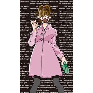 フリーイラスト, ベクター画像, EPS, 人物, 女性, コート, サングラス, レディースファッション, 英語, クラッチバッグ