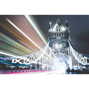 フリー写真, 風景, 建造物, 建築物, 橋, タワーブリッジ, 夜, 夜景, イギリスの風景, ロンドン, 光線