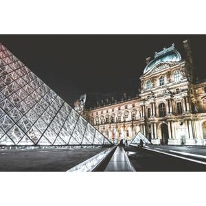 フリー写真, 風景, 建造物, 建築物, 博物館(美術館), ルーブル美術館, ルーヴル・ピラミッド, フランスの風景, パリ, 夜景, 夜