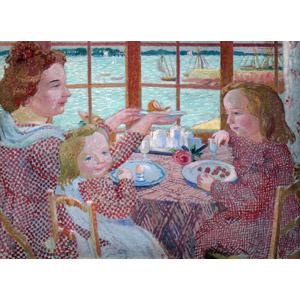 フリー絵画, モーリス・ドニ, 人物画, 親子, 母親(お母さん), 子供, 娘, 食事, 食べる, 朝食, 食卓(テーブル)
