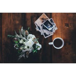 フリー写真, 花, 写真, 飲み物(飲料), コーヒー