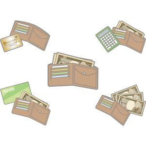 フリーイラスト, ベクター画像, AI, 財布, キャッシュカード, 預金通帳, お金, 一万円札(一万円紙幣), 日本円, 紙幣, 電卓