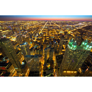フリー写真, 風景, 建造物, 建築物, 高層ビル, 都市, 街並み(町並み), 日暮れ, アメリカの風景, シカゴ