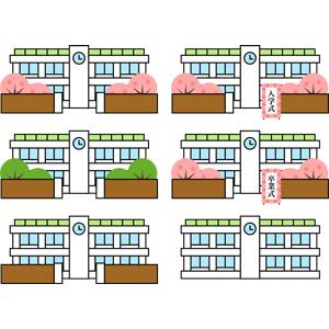 フリーイラスト, ベクター画像, AI, 学校, 校舎, 入学式, 卒業式, 春, 桜(サクラ)