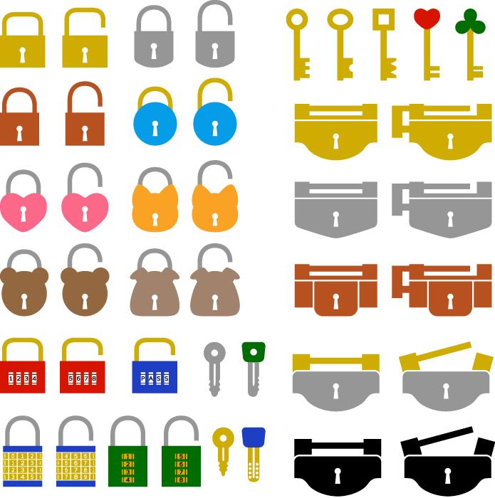 フリーイラスト 42種類の鍵と錠前ののセット