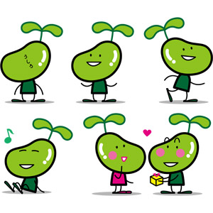フリーイラスト, ベクター画像, EPS, 豆(マメ), ソラマメ, マスコットキャラクター, 緑色(グリーン)