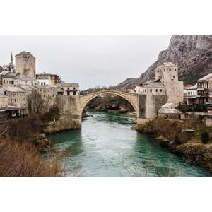 フリー写真, 風景, 建造物, 橋, 河川, 街並み, 旧市街, スタリ・モスト, ボスニア・ヘルツェゴビナの風景, 世界遺産