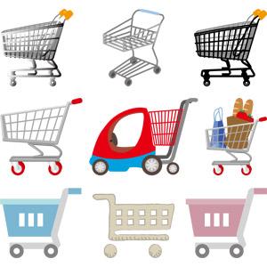フリーイラスト, ベクター画像, AI, 買い物(ショッピング), ショッピングカート, スーパーマーケット