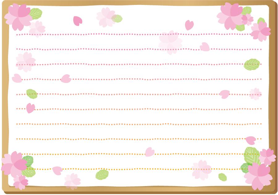 フリーイラスト 桜の花と花びらの便箋