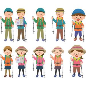 フリーイラスト, ベクター画像, AI, 登山, ストック, アウトドア, レジャー, 人物, 女性, 男性, 子供, 男の子, 女の子, 老人, シニア男性, シニア女性, トレッキング, 祖父(おじいさん), 祖母(おばあさん), 帽子