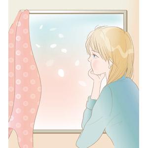 フリーイラスト, ベクター画像, AI, 人物, 女性, 泣く(泣き顔), 窓辺, 頬杖をつく, 花びら, 桜(サクラ), 悲しい, 憂鬱