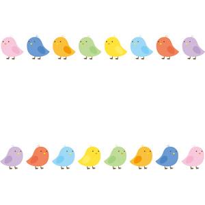 フリーイラスト, ベクター画像, EPS, 背景, フレーム, 上下フレーム, 動物, 鳥類, 鶏(ニワトリ), ひよこ(ヒヨコ), 雛(ヒナ), カラフル