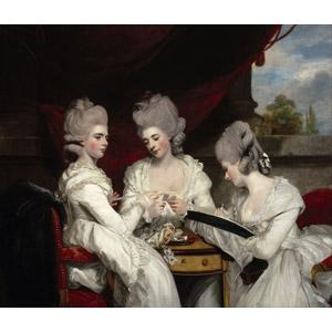 フリー絵画, ジョシュア・レノルズ, 人物画, 女性, 外国人女性, 三人, 兄弟(姉妹)