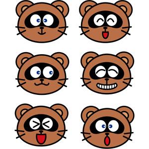 フリーイラスト, ベクター画像, EPS, 動物, 哺乳類, 狸(タヌキ), 動物の顔, 笑う(動物), 喜ぶ(動物), 驚く(動物)